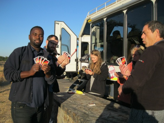 Playing Uno on the side of the road when the truck broke down.