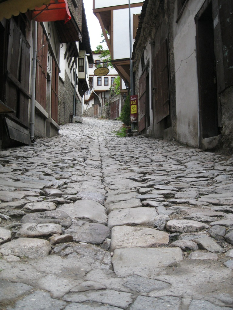 Roads built centuries ago that were well thought out. The larger stones are in the middle and easier to walk on. I think they were built this way for drainage reasons.