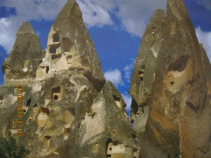 These formations are called Fairy Chimneys and people still live in them.