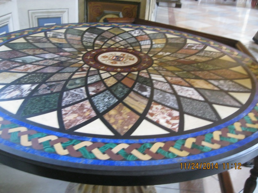 At the Vatican museums- a gorgous tiled table