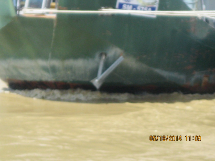 Flooded Danube river- fast current, the boat is not moving, just the water is