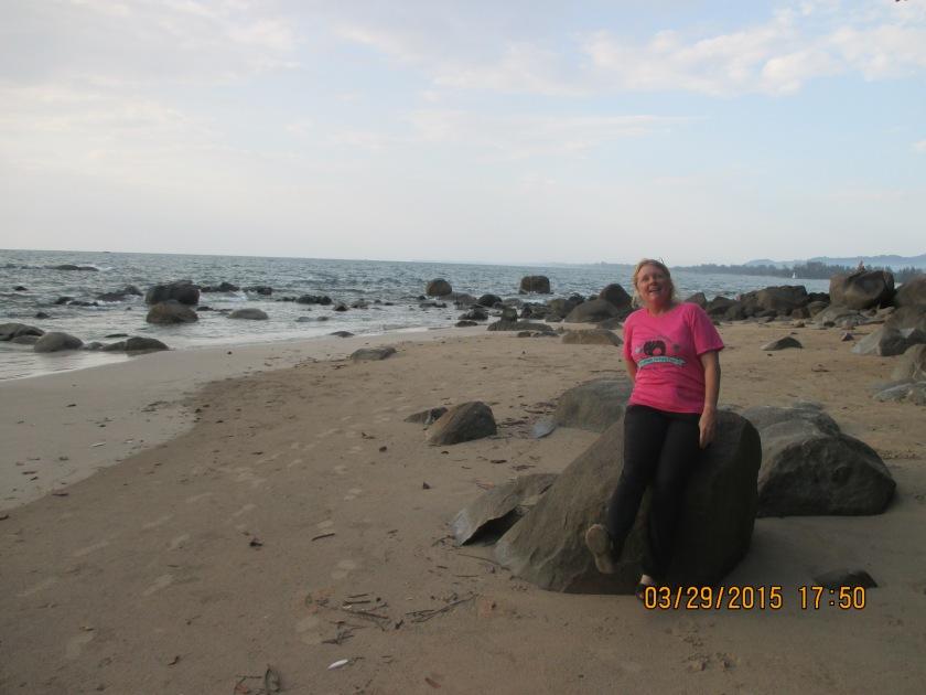 Along the shoreline where the tsunami hit